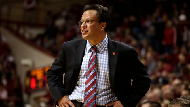 Indiana coach Tom Crean instructs his players, Nov. 28, 2014, at Assembly Hall in Bloomington.