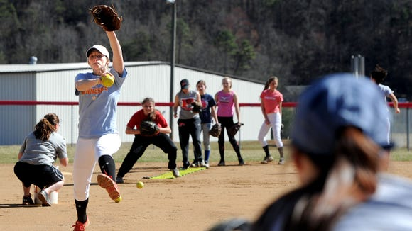 Pisgah's Callie Kuykendall pitches during practice Monday in Canton.