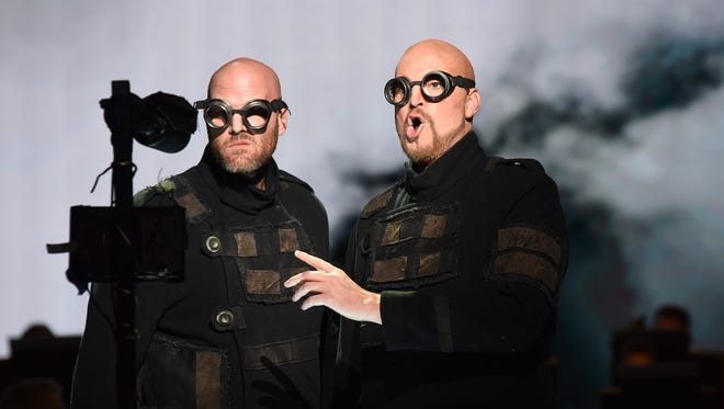 "The giants Fasolt and Fafner in Arizona Opera's ""Das Rheingold."""