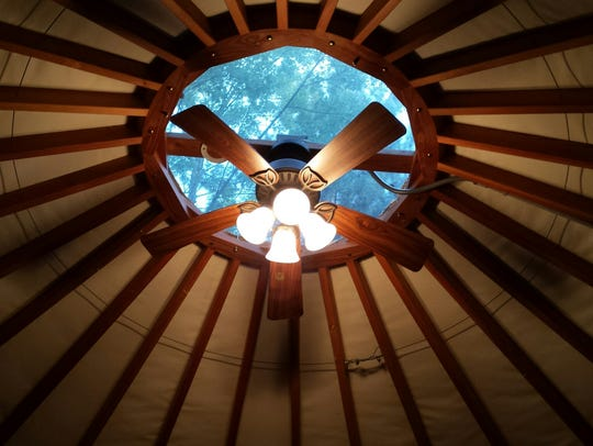 A glimpse from inside a yurt at Waupaca S'more Fun