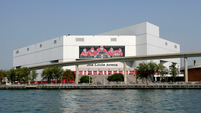 Exterior of Joe Louis Arena as seen from the Detroit River in 2014.
