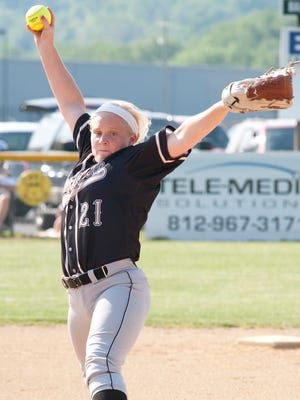 Henryville Lady Hornets starting pitcher Lexie McAfee prepares to throw.07 May 2015