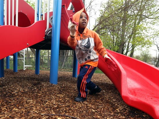 4-year-old Wesley Gaynor III of Piscataway helps out