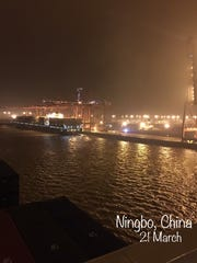The Cendrillon pulls into Ningbo, China.