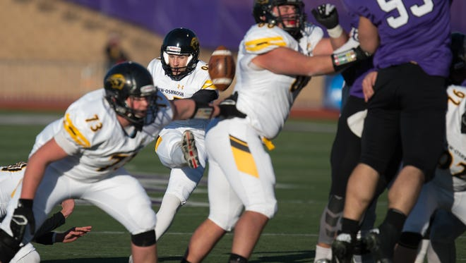 UW-Oshkosh kicker Eli Wettstein connects on the go-ahead 37-yard field goal with 3:27 left on Saturday.
