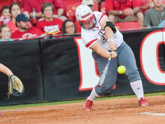 Sara Corbelo at the plate as the Cajuns face Boston