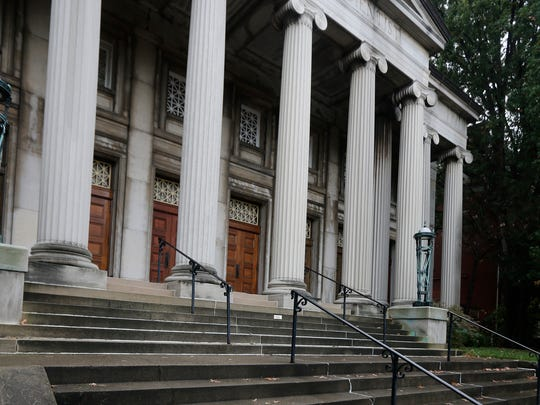 """The First Church of Christ Scientist building at Third and Ormsby is intertwined with local Halloween folklore spirit, """"The Lady of the Stairs."""" Oct. 28, 2015."""