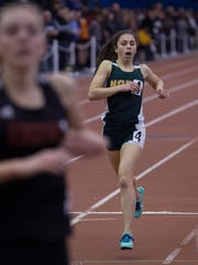 North Hunterdon's Elena DiMarcello finished second in the Group IV 1600 to Kingsway's Rachel Vick at the NJSIAA Groups I and IV championships on Friday at the Bennett Center in Toms River.