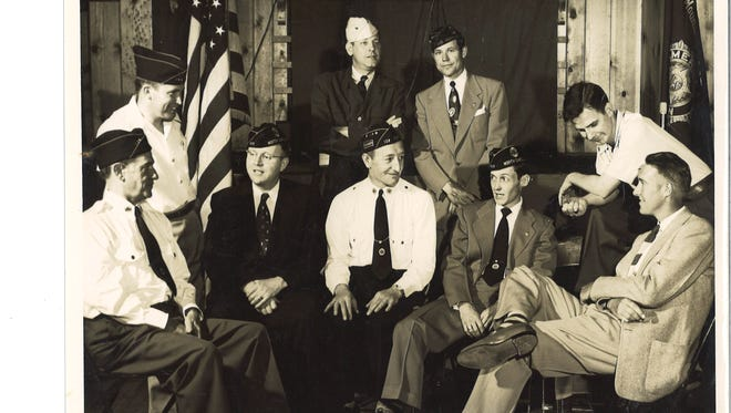 Officers of the American Legion in the mid-1950s were (form left) Claude Betts, Clarence Wilson, the Rev. Wilbur Huneycutt, Victor Workman, John O'Connor, Hilliard Penland, Ray Cockrell Sr., Harry Hyder and Carl Kerlee.