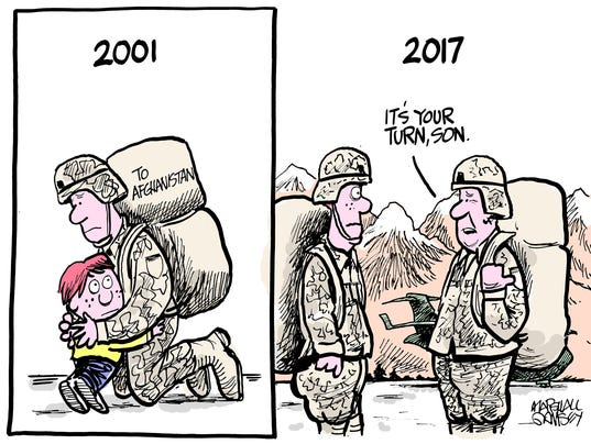 Soldier leaving for Afghanistan in 2001 hugging his young son.  Frame Two:  Soldier returning in 2017 says to that same son, now in uniform,