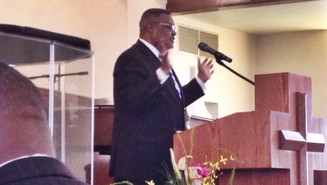 Pastor Russell Bailey preaches at Historic First Baptist Church Sunday in Jackson.