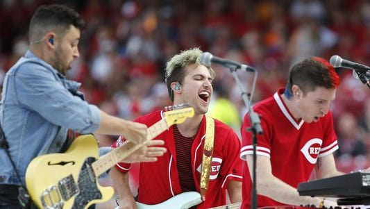 Walk the Moon performs before the Home Run Derby, Monday, July 13, 2015, at Great American Ball Park in Cincinnati.