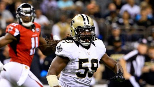New Orleans Saints linebacker Dannell Ellerbe (59) against the Atlanta Falcons during the second half of a game at the Mercedes-Benz Superdome. The Saints defeated the Falcons 31-21.