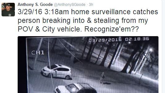 Vehicles belonging to Wilmington Fire Chief Anthony Goode were burglarized Tuesday, according to his Twitter account.