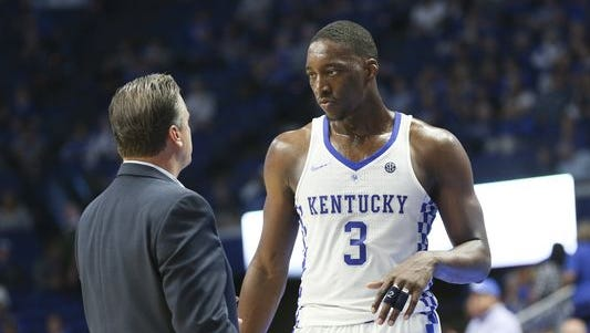 UK head coach John Calipari instructs Edrice Adebayo (3) against Clarion during their game at Rupp Arena. Oct. 30, 2016.