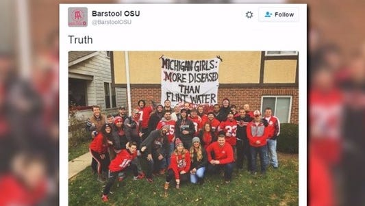A photo posted Saturday, Nov. 26, 2016, during the Michigan-Ohio State rivalry game mocks Michigan fans amid the Flint water crisis.