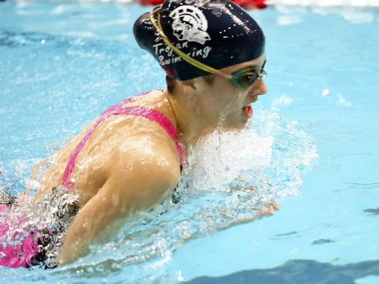 Chambersburg's Abby Stauffer swims on the first day of the District 3 Class AAA Swimming Championships. On Saturday, Stauffer broke her own school record in the 500 free with a time of 5:04.76.