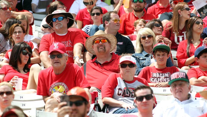 Fans watch from the stands during the UL football team's spring game.