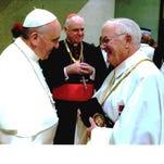 Green Township resident Thomas McKiernan, right, meets Pope Francis.