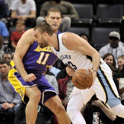 Memphis Grizzlies center Marc Gasol (33) drives against