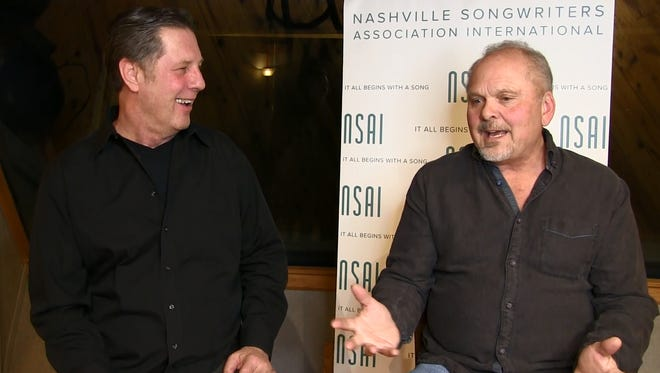 Kent Blazy, right, talks to Bart Herbison about songwriting.