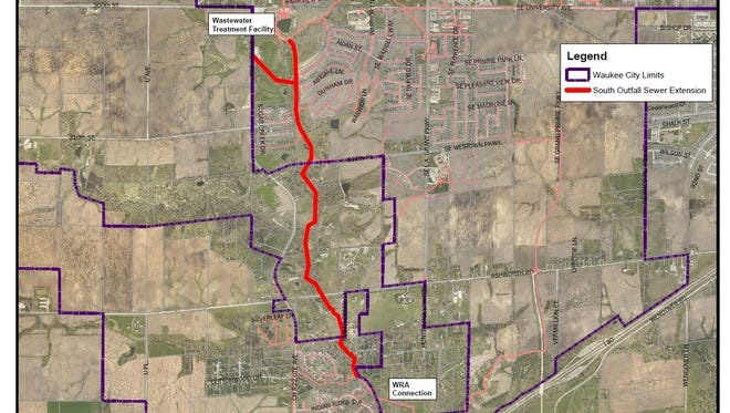 Waukee will install 2.5 miles of underground sewer pipe from its wastewater treatment facility south to a connection for the Des Moines Metropolitan Wastewater Reclamation Authority. It will cost $7 million and be complete by 2019.