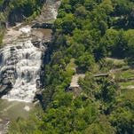 The former Ithaca Gun factory site, to the right of Ithaca Falls.