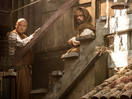 Lord Varys (Conleth Hill, left) and Tyrion Lannister