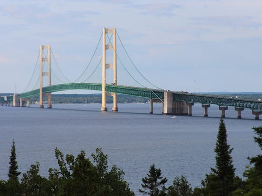 The Mackinac Bridge is shown from the Straits State Park bridge overlook point in St. Ignace.