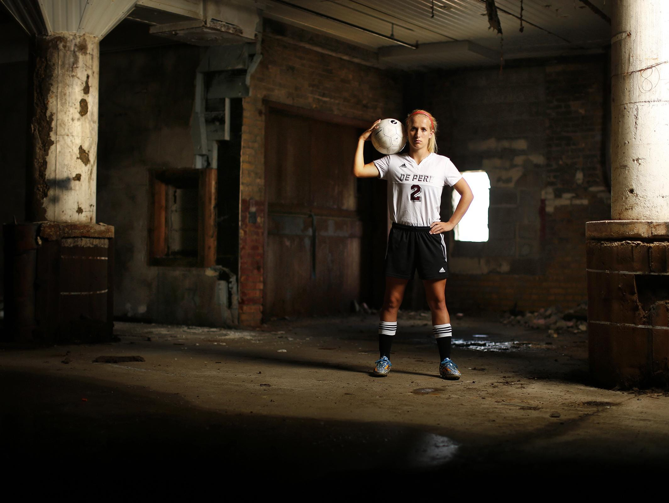 De Pere's Alek Kleis is Press-Gazette Media's soccer player of the year. Kleis is shown inside the former Larsen Canning Company in the Broadway District.