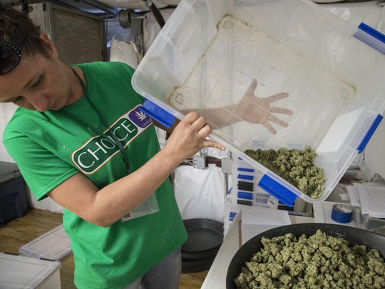 In this file photo, Jodi Lenz prepares medical marijuana for packaging at Mohave Green in Arizona. The  Cannabis Control Board last Tuesday finished discussing proposed rules and regulations related to the application process for recreational cannabis businesses.