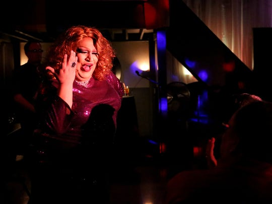 RiRi Calienté (Richard Arias Jr.) performs in a drag show at a fundraiser at the Southside Speakeasy in Salem on Jan. 10. Calienté was named Entertainer of the Year by the International Sovereign Court of the Willamette Empire in 2013.