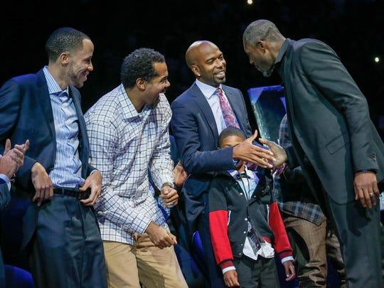 Former Pistons Tayshaun Prince, Rasheed Wallace, Rip Hamilton and Ben Wallace reunite Saturday.
