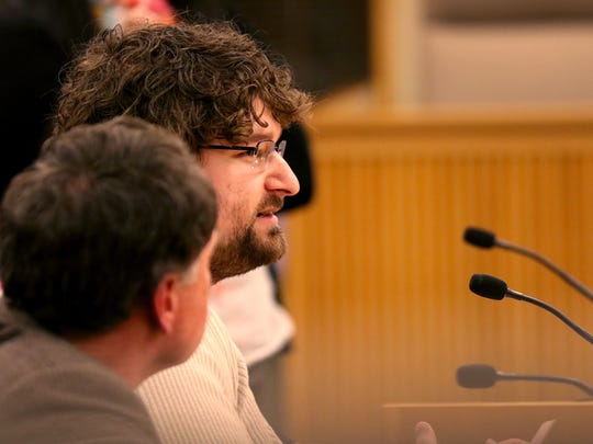 "Gordon DiQuattro, who works with people with developmental disabilities in Eugene, testifies during a House Committee on Business and Labor meeting for Senate Bill 1532, which would establish a tiered system of minimum wage rates based on an employer's location. Photographed at the Oregon State Capitol in Salem on Monday, Feb. 15, 2016. ""At my wage, my co-workers and I are not afforded the same quality of life and independence that we are expected to provide our clients,"" DiQuattro said."