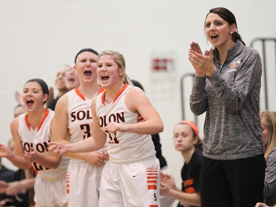Solon head coach Lisa Bishop cheers on her team during the Spartans' game against Maquoketa on Jan. 12.