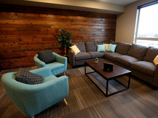 A community room at the South Block Apartments, the former Boise Cascade site, in downtown Salem on Tuesday, March 1, 2016.