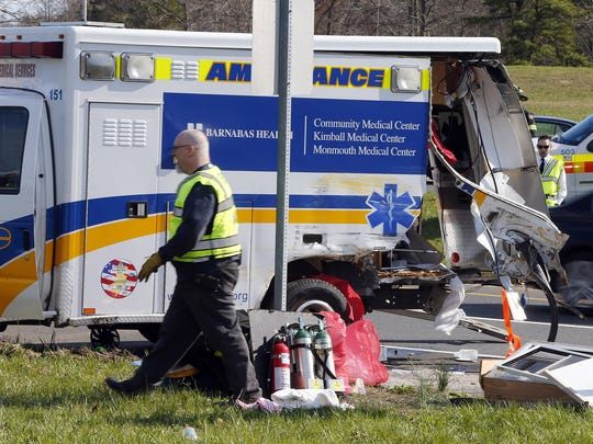 A MONOC ambulance was struct by a tractor trailer at