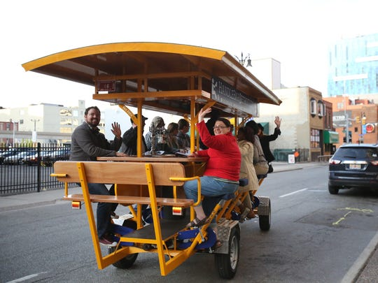 The 16-person bicycle bar called Handlebar Detroit on the streets of downtown Detroit in May 2016.