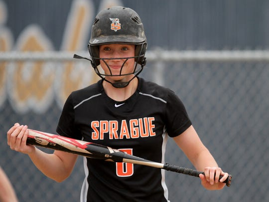 Sprague Jessie Isham (6) reacts to a pitch during the Sprague vs. West Albany softball game at West Albany High School on Tuesday, April 21, 2015. Sprague won the game 3-1.