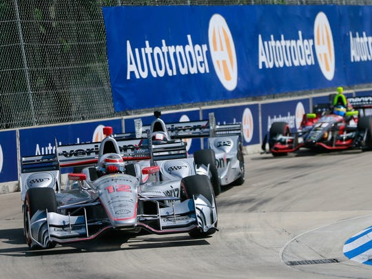 Will Power takes a turn and the lead in the 61st lap in the Chevrolet Dual in Detroit presented by Quicken Loans during the Detroit Belle Isle Grand Prix on Sunday, June 5, 2016.