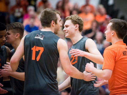 Northeastern's Reese Devilbiss (17) and Brandon Arentz (23) are part of a group of six seniors who'll try to win their fourth straight state championship Saturday against Ambridge.