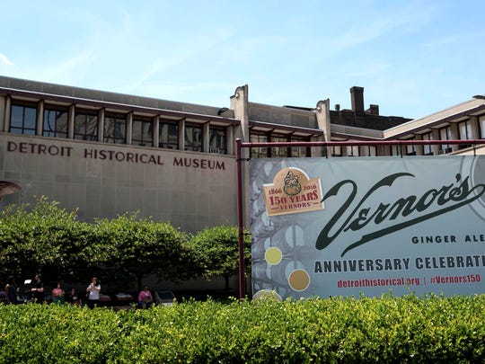 A banner decorates the front of the Detroit Historical Museum as attendees celebrate the 150th Anniversary pf Vernors on Saturday, June 11, 2016 in Detroit.