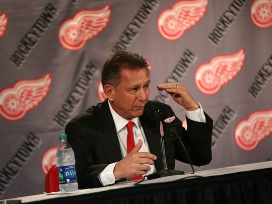 Detroit Red Wings general manager Ken Holland talks to reporters April 25, 2016, at Joe Louis Arena in Detroit.