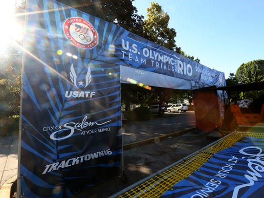 Event materials are ready to be set up before the Olympic 20K race walk trials to be held Thursday morning at the Oregon State Capitol. Photographed in Salem on Wednesday, June 29, 2016.