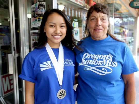 Scholarship winner Kennedy Ho, left, and Pam Zielinski, with Distinguished Young Women, will be holding the Oregon state program on Saturday at Chemeketa Community College. Photographed during the Statesman Journal's Holding Court at the Court Street Dairy Lunch in downtown Salem on Tuesday, Aug. 2, 2016.