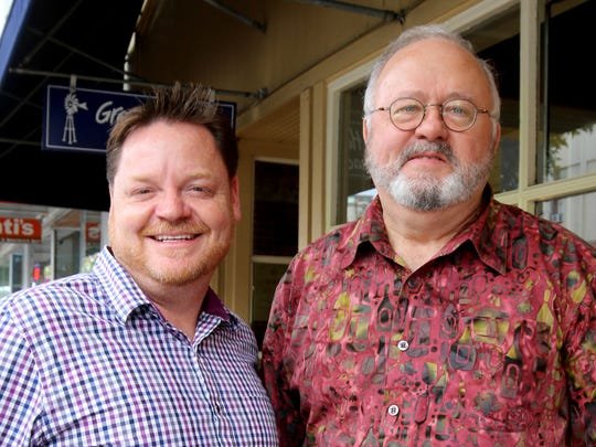 """From left, vocalist Jeff Witt and Salem Concert Band conductor John Skelton will blend their talents at """"Some Decanted Evening,"""" a Broadway-themed outdoor performance at the Youngberg Hill Vineyard."""