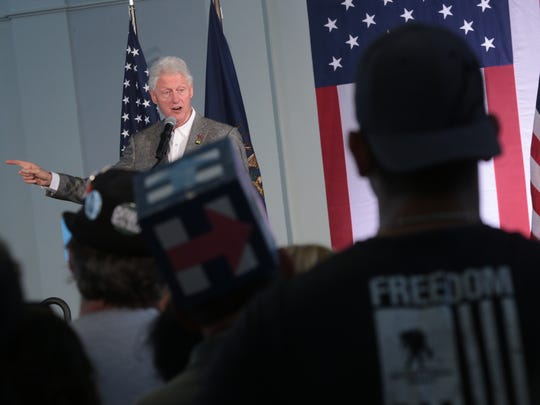 President Bill Clinton speaks to supporters during