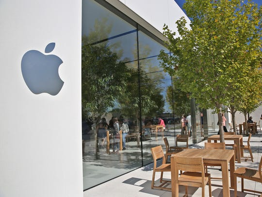This is the exterior entrance to the redesigned Apple