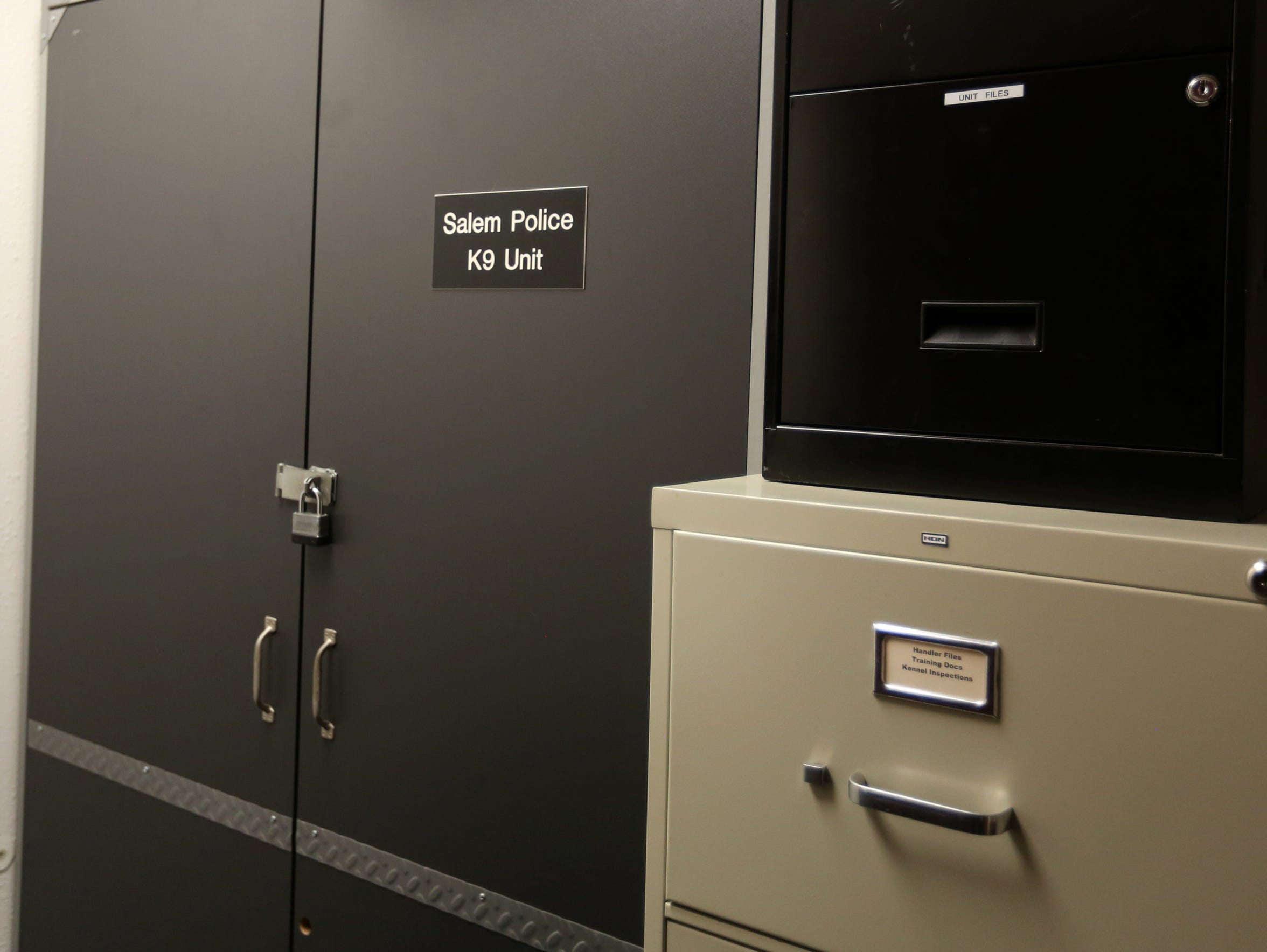 A K9 unit storage area at the Salem Police Department