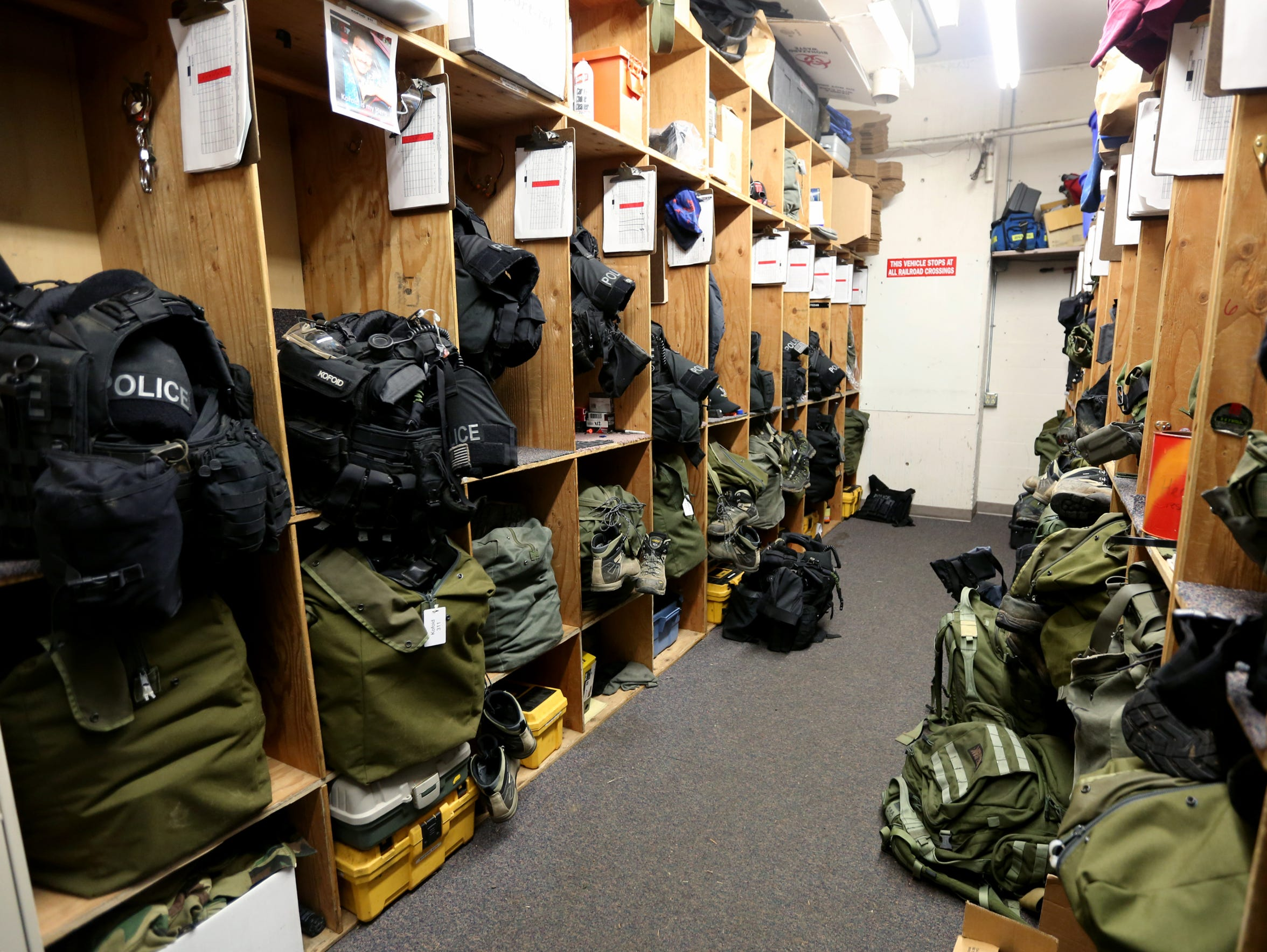 The storage area for SWAT team gear at the Salem Police